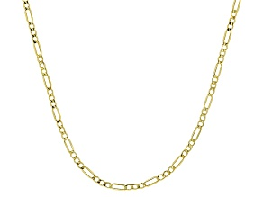 10k Yellow Gold Hollow Figaro Chain Necklace 18 inch 2.5mm