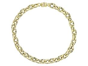 10k Yellow Gold Hollow Diamond Cut Rolo Bracelet 775 inch