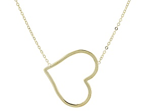 10k Yellow Gold Polished Horizontal Heart Necklace 18 inch