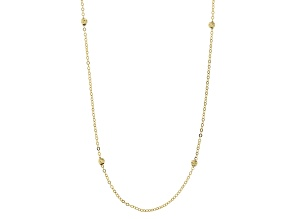 10k Yellow Gold Diamond Cut Bead Station 20 inch Necklace