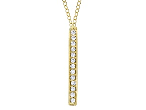 Diamond Simulant 10k Yellow Gold Vertical Bar Necklace 0.65 Ctw