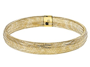 10k Yellow Gold Mesh Bangle Bracelet 7.5mm
