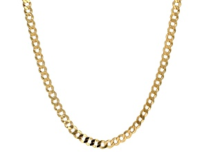 10k Yellow Gold Curb Necklace 20 inch 4mm
