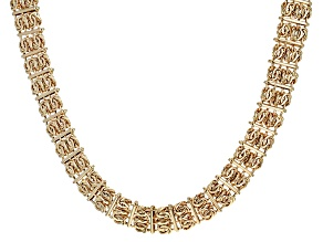 14k Yellow Gold Hollow Byzantine Necklace 18 inches