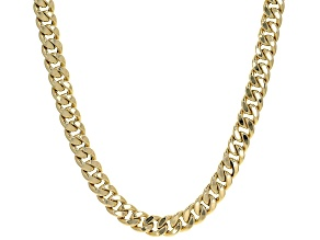 14K Yellow Gold 11MM Semi-Solid Curb Chain 22 Inch Necklace