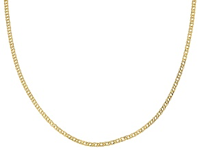 10K Yellow Gold Diamond-Cut 2MM Double Curb Chain 18 Inch Necklace