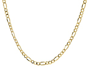 10K Yellow Gold 5.6MM Semi-Solid Figaro Chain 20 Inch Necklace