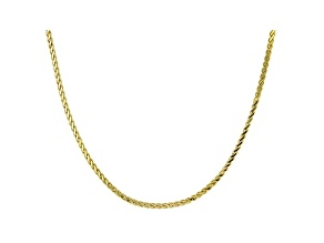 10K Yellow Gold 2.2MM Diamond-Cut Flat Wheat Chain 24 Inch Necklace