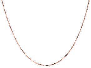 10K Rose Gold 0.6MM Box Chain 18 Inch Necklace