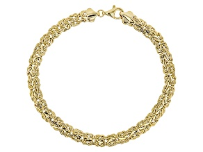 14k Yellow Gold Hollow Domed Byzantine Bracelet 8 inch 6mm