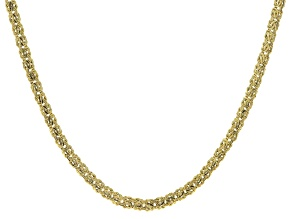 14k Yellow Gold Hollow Domed Byzantine Necklace 18 inch 6mm