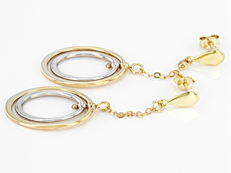 10K Two-Tone Double Oval Drop Earrings