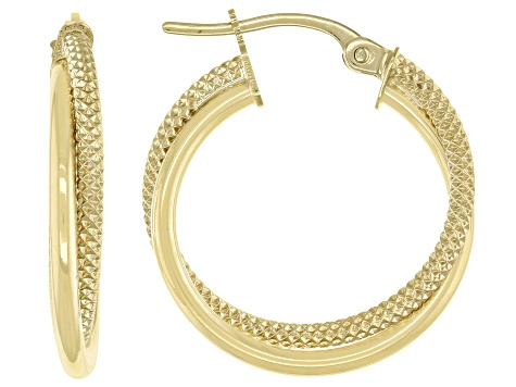 10K Yellow Gold 15MM Polished Textured Double Round Tube Hoop Earrings