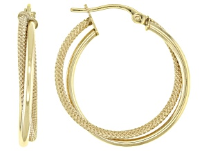 10K Yellow Gold 20MM Polished Textured Double Round Tube Hoop Earrings