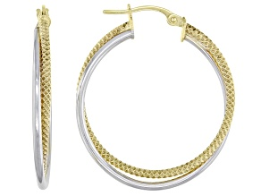 10K Two-Tone 25MM Polished Textured Double Round Tube Hoop Earrings