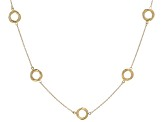 10K Yellow Gold Twist Station Circle Cable 18 Inch Necklace