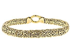 14k Yellow Gold Hollow Mirrored Byzantine Bracelet 8 inch 8mm