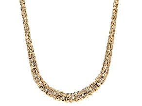 14k Yellow Gold Hollow Byzantine Necklace 18 inch