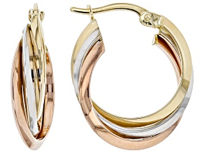 14K Tri-Color 15MM Tube Hoop Earrings