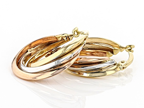 14K Yellow Gold, 14K White Gold, and 14K Rose Gold Over 14K Yellow Gold 15MM Tube Hoop Earrings
