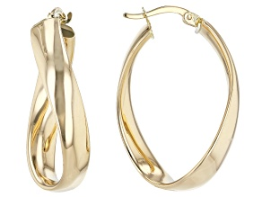 14K Yellow Gold Wavy Hoop Earrings