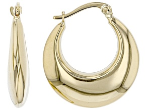 14K Yellow Gold Stampato Hoop Earrings