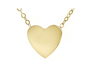 10K Yellow Gold Heart Cable Chain 18 Inch Necklace