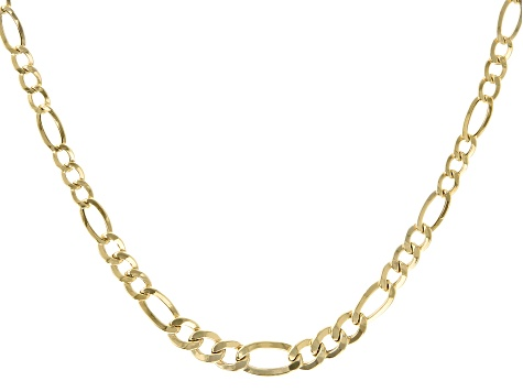 10K Yellow Gold 3.40MM-5.90MM Figaro Chain 18 Inch Necklace