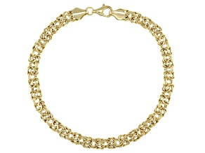 10K Yellow Gold 5MM High Polished Byzantine Link Bracelet