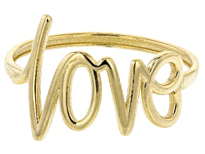 10K Yellow Gold LOVE Script Ring