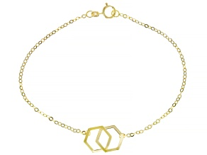 10K Yellow Gold Interlocking Honeycomb Diamond-Cut Bracelet