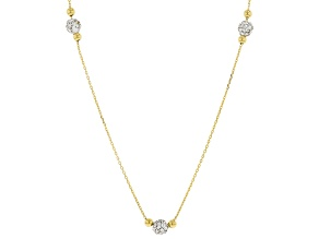 10K Yellow Gold Pave Glass Bead Station Necklace