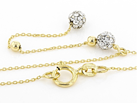 10K Yellow Gold Pave Glass Bead Station Y-Necklace