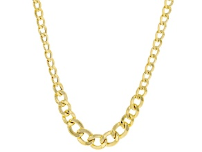 10K Yellow Gold 5MM-3MM Graduated Curb Necklace