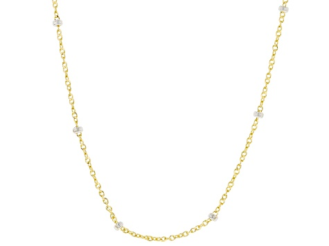 10K Yellow Gold with 10K White Gold Accents Station Ball Singapore Necklace