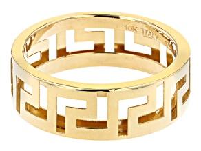 10K Yellow Gold 6.6MM Greek Key Band Ring