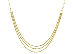 10K Yellow Gold Diamond-Cut Multi-Row Rope Necklace