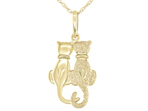 10K Yellow Gold Cat Couple Pendant with 18 Inch Chain