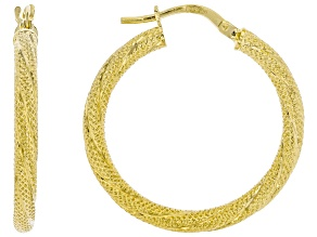 10K Yellow Gold Textured Tube Hoop Earrings