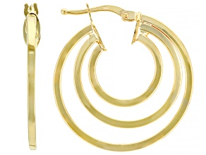 10K Yellow Gold Triple Tube Hoop Earrings