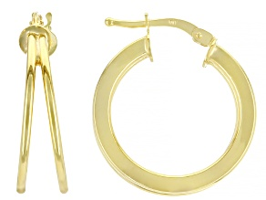10K Yellow Gold Double Tube Hoop Earrings