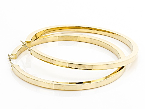 10K Yellow Gold Polished 49MM Square Tube Hoop Earrings