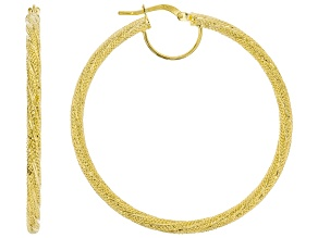 10K Yellow Gold 3x40MM Textured Tube Hoop Earrings
