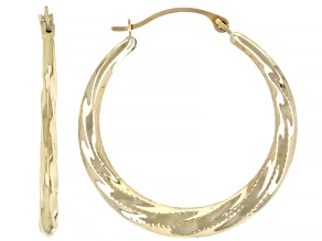 10K Yellow Gold 3x19MM Twisted Tube Hoop Earrings
