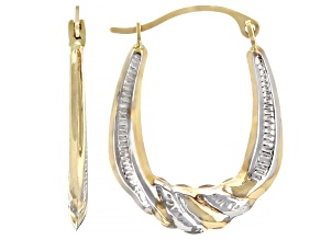 1010K Yellow Gold with Rhodium Over 10K Yellow Gold Accent 4x10MM Scallop Tube Hoop Earrings