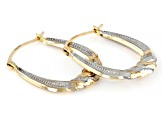 10K Yellow Gold with Rhodium Over 10K Yellow Gold Accent 4x10MM Scallop Tube Hoop Earrings