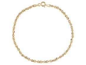 10K Yellow Gold Diamond-Cut 2.5MM Rope Bracelet