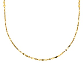 10k Yellow Gold Hollow Mirror Cable Chain Necklace 32 inch