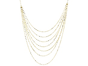 10K Yellow Gold Diamond Cut Multi-Layer Valentino Necklace