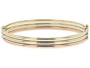 14K Yellow Gold, 14K White Gold, and 14K Rose Gold Over 14K Yellow Gold 8MM Triple Row Bangle